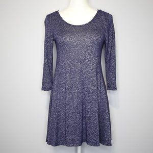 Pinc Blue 3/4 Sleeve Knit Mini Skater Dress